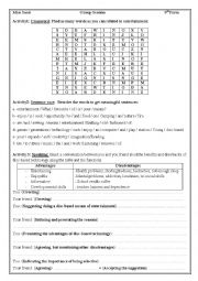 English Worksheet: Group session about means of entertainment