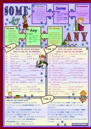 English Worksheet: Some and any * for beginners *grammar * 3 tasks * with key *** fully editable***