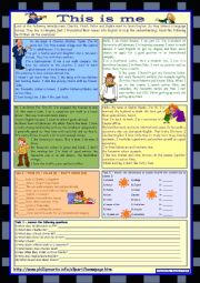 English Worksheet: This is me Part 1 *** Reading comprehension for adults  *** elementary level  *** with key  *** fully editable