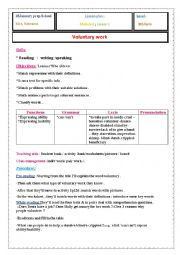 lesson plan of the worksheet ´voluntary work´