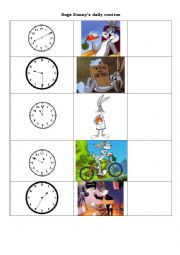 English Worksheet: Bugs Bunny�s daily routine