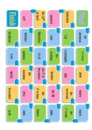English Worksheet: prepositions of time board game