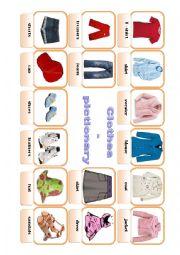 English Worksheet: Clothes - pictionary (editable, B&W)