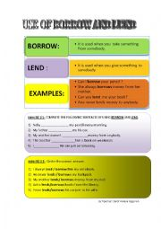 English Worksheets: use of lend and borrow