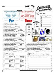 English Worksheet: Grammar Focus Series_29_FOR & SINCE (Fully Editable + Key)