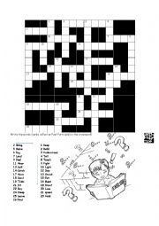 English Worksheets: Verbs  in the crossword