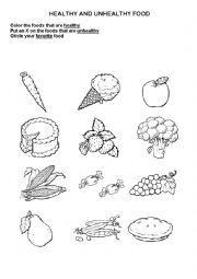 worksheet: healthy - unhealthy foods