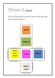 English Worksheet: Picture it! (3) Dice