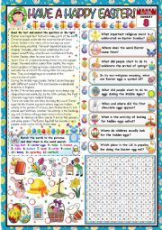 English Worksheet: HAVE A HAPPY EASTER- READING AND COMPREHENSION+ WORDSEARCH