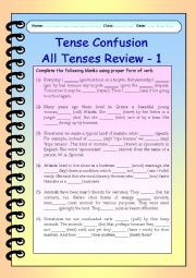 English Worksheet: Tense Confusion All Tenses (mixed) Review - 1
