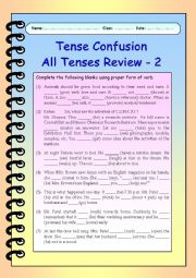 English Worksheet: Tense Confusion All Tenses (mixed) Review - 2