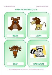English Worksheets: ANIMALS FLASHCARDS  - 3 OF 4