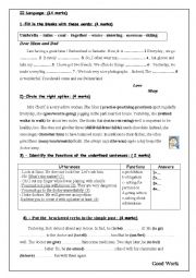 English Worksheet: mid term test n3 for 7th form