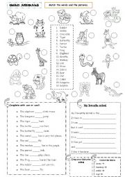 English Worksheet: Wild Animals - Can / Can´t