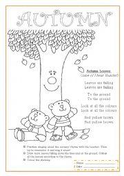 English Worksheets: Autumn nursery rhyme
