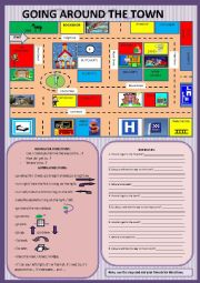 English Worksheets: In town - asking for and giving directions