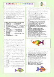 English Worksheets: relative sentences