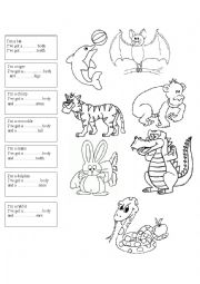 English Worksheet: animals and parts of the body