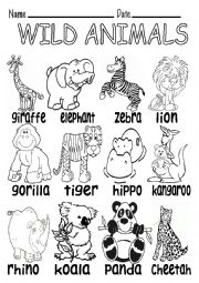 English Worksheets: WILD ANIMALS B&W VOCABULARY