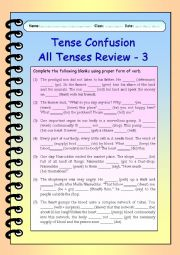 English Worksheet: Tense Confusion All Tenses (mixed) Review - 3