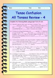 English Worksheet: Tense Confusion All Tenses (mixed) Review - 4