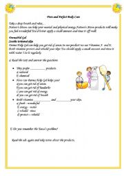 English Worksheets: Reading about Body Care