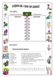 English Worksheets: WORKING MOTHERS: lesson 20: I Had No Choice 2nd Year Secondary