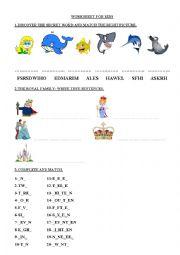 English worksheet: Worksheet for kids