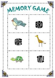 English Worksheets: MEMORY GAME- 30 ANIMALS- 10 PAGES OF CARDS
