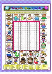 English Worksheets: Verb word Search
