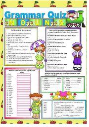 English Worksheet: GRAMMAR QUIZ - NOUNS