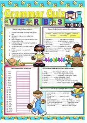 English Worksheet: GRAMMAR QUIZ - VERBS
