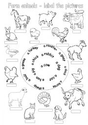 English Worksheets: Farm animals-label the pictures
