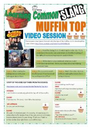 English Worksheet: SLANG - Learning Common Slang - MUFFIN TOPS Part 1 of 2 (4 pages) -VIDEO LINK - A complete worksheet with 10 exercises and instructions