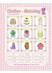 English Worksheet: CLOTHES - MATCHING