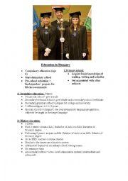 English Worksheet: education in Hungary