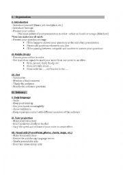 English Worksheets: Presentation steps