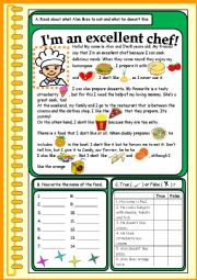 English Worksheet: I�m an excellent chef!