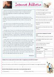 English Worksheet: Internet addiction