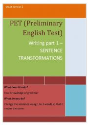 PET writing part 1 (Preliminary English Test)