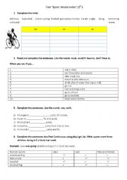 Sports. Modal verbs. Past Continuous Tense