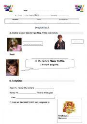 English worksheet: 1st name, Surname, Nickname