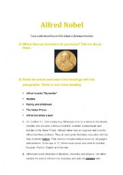 English Worksheets: Alfred Nobel - a famous inventor
