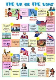 English Worksheet: The UK or the USA-board game