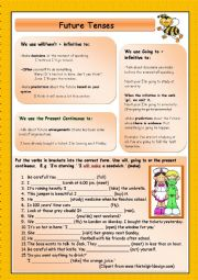 English Worksheet: Future Tenses: Will, Going to and Present Continuous (+KEY)