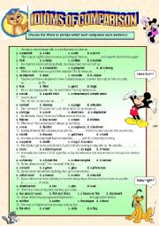 English Worksheets: idioms of comparison practice!! it comnes along with the idioms of comparison definitions and brief examples (2 pages)