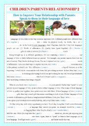 English Worksheet: CHILDREN PARENTS RELATIONSHIP 2