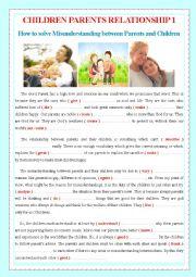 English Worksheet: CHILDREN PARENTS RELATIONSHIP 1