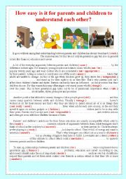 English Worksheet: How easy is it for parents and children to understand each other?