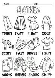 B&W VOCABULARY ABOUT CLOTHES - ESL worksheet by elenarobles29